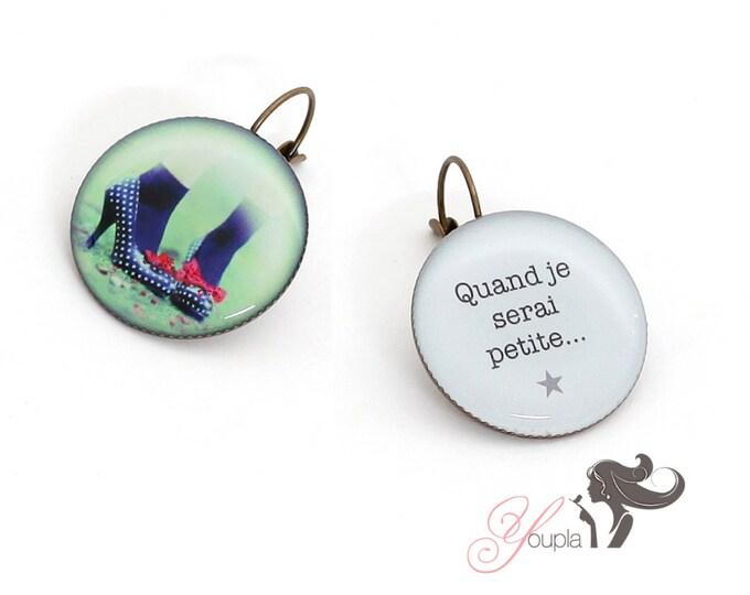 Earrings resin (25mm in diameter) - brass - collection La Plume à l'Oreille (CD21 + T07)