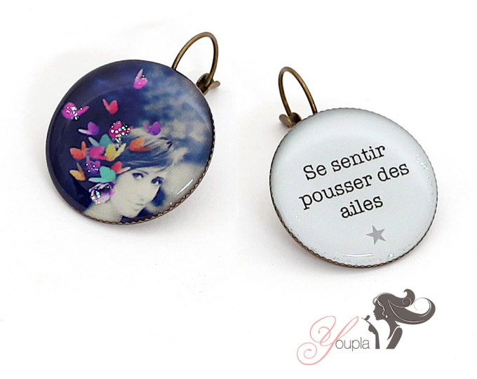 Earrings resin (25mm in diameter) - brass - collection La Plume à l'Oreille (CD2 + T04)