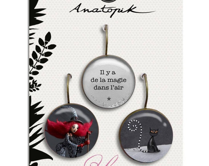 Trio earrings witch - Youpla & Anatopik (18mm diameter) - collection the feather to the ear (29)