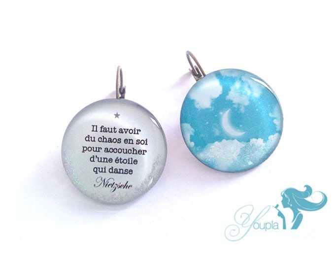 Earrings CD51 + T57 (2, 5cm diameter) - resin - collection La Plume to the ear