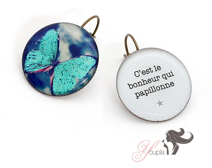 Earrings resin (25mm in diameter) - brass - collection La Plume à l'Oreille (CD3 + T34)