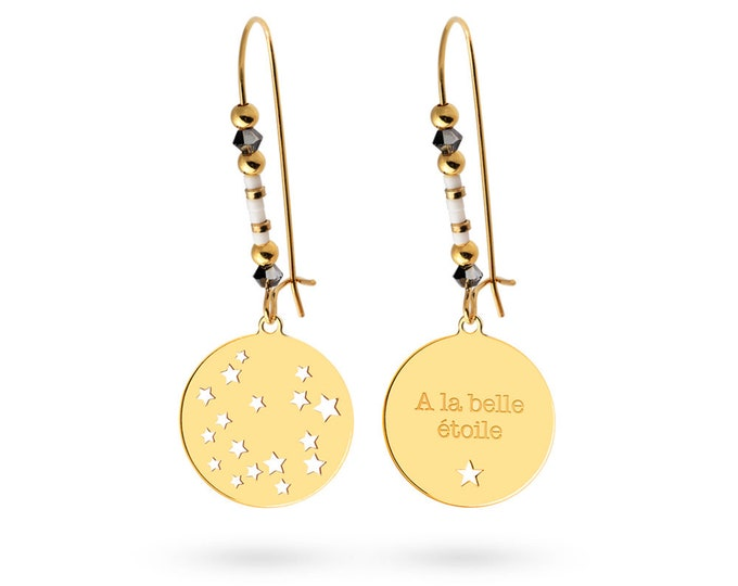 Pair of earrings footprint star - Swarovski pearls
