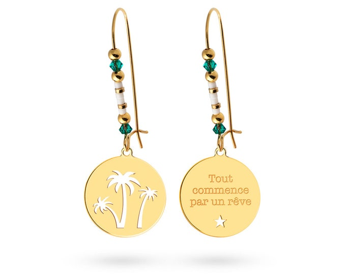Pair of earrings print Palm tree - Swarovski pearls