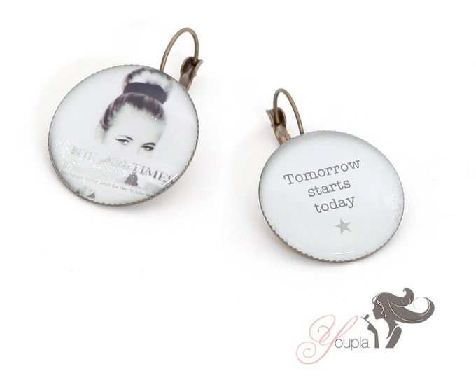 Earrings resin (25mm in diameter) - brass - collection La Plume à l'Oreille (CD27 + T21)