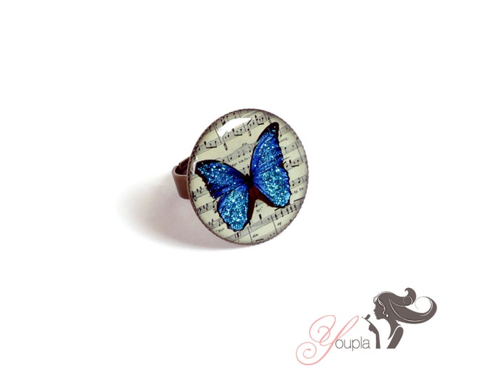 Resin CD47 ring (2, 5cm in diameter) - support brass - collection La Plume to the ear