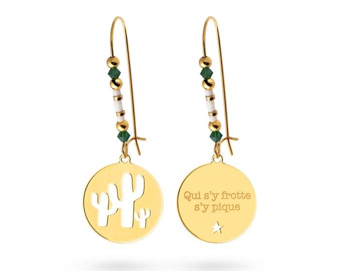 Pair of footprint cactus - Swarovski Pearl Earrings