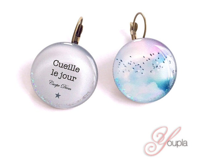Earrings resin Chacha by Iris (diameter 25mm) - brass - collection La Plume à l'Oreille (CD70-T71)