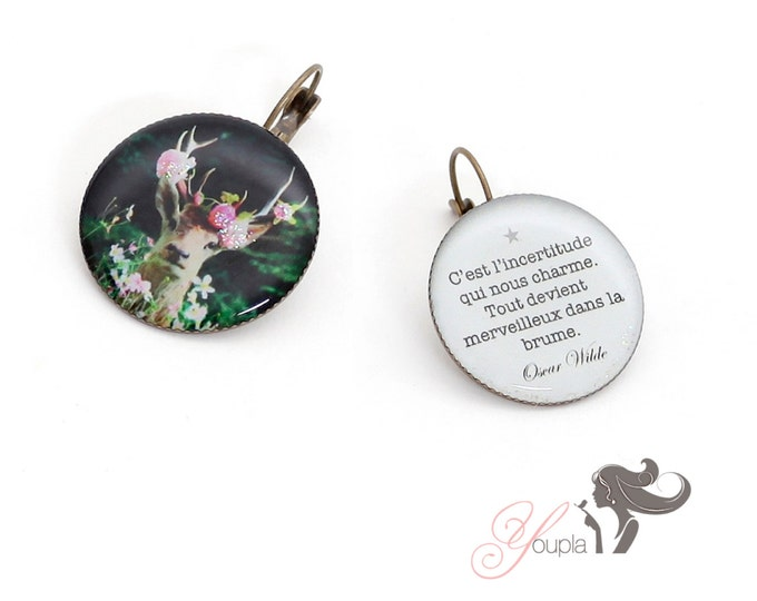 Earrings resin (25mm in diameter) - brass - collection La Plume à l'Oreille (CD26 + T24)