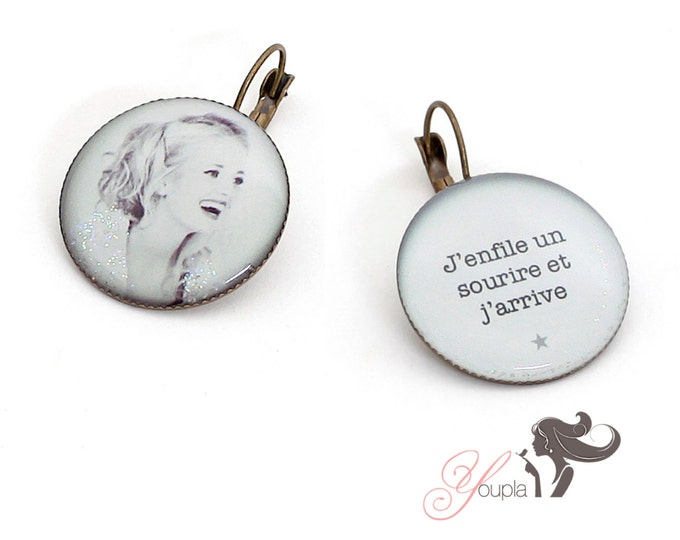 Earrings resin (25mm) - brass - collection the pen in my ear (CD38 + T43)