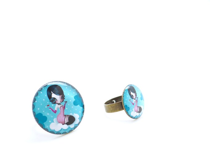 Ring in resin LOU - Allen & Adolie Day - collection La Plume at the ear (AD5)