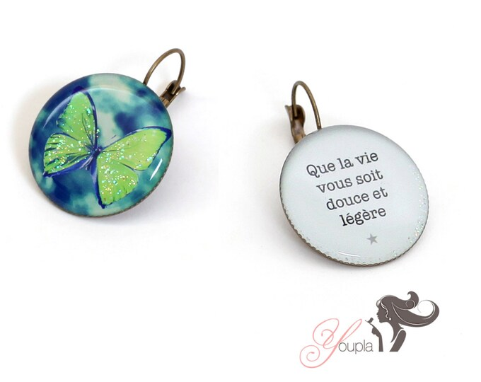 Earrings resin (25mm in diameter) - brass - collection La Plume à l'Oreille (CD45 + T09)
