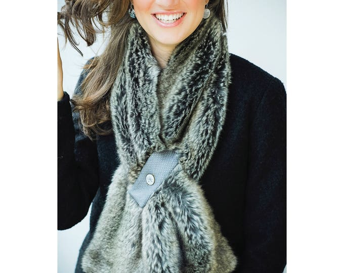 Faux fur scarf with magnetic flap