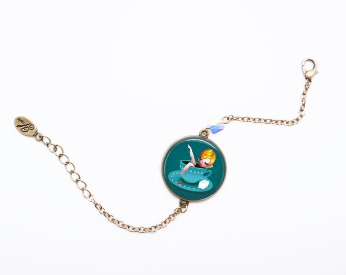 Resin bracelet ALICE - Allen & Adolie Day - brass - collection La Plume at the ear (AD7)