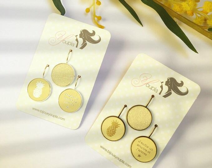 Trio of leather (18mm in diameter) yellow pineapple earrings - trio 42