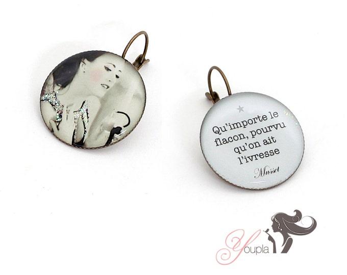 Earrings resin (25mm in diameter) - brass - collection La Plume à l'Oreille (CD33 + T41)