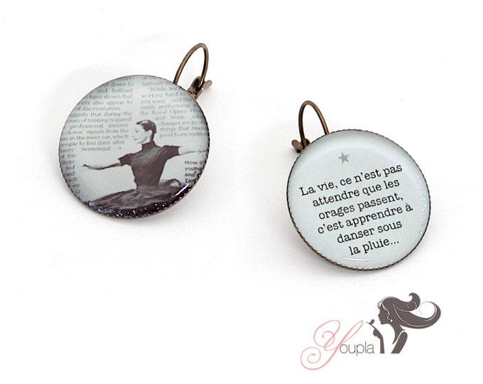 Earrings resin (25mm in diameter) - brass - collection La Plume à l'Oreille (CD28 + T29)