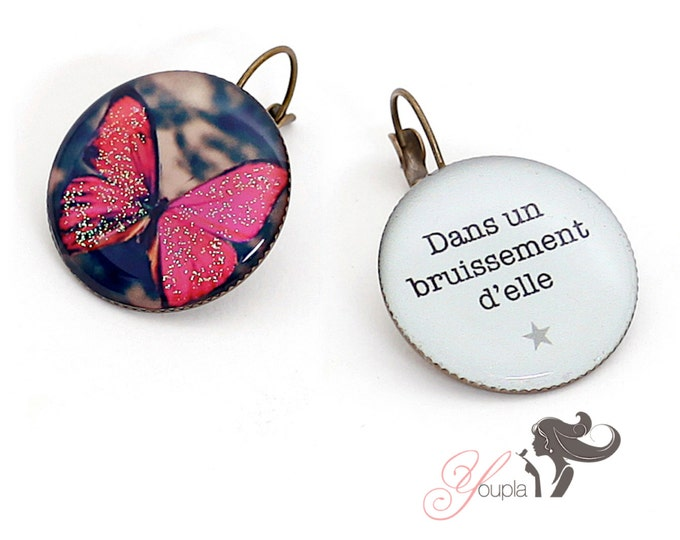 Earrings resin (25mm in diameter) - brass - collection La Plume à l'Oreille (CD4 + T02)