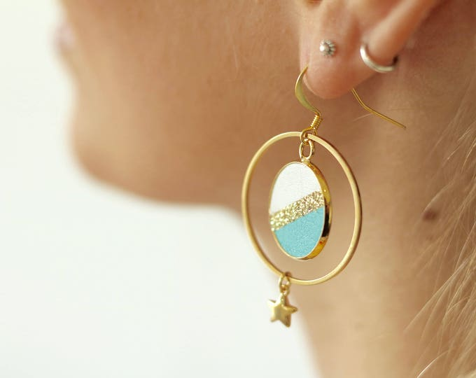 1 pair of earrings geometric leather glitter