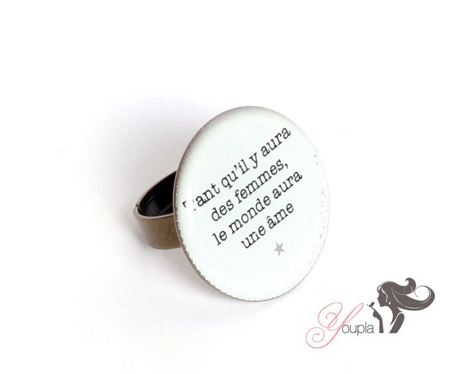 Resin T06 ring (2, 5cm in diameter) - support brass - collection La Plume to the ear