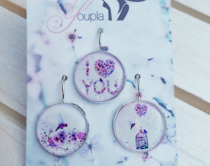 Trio of earrings in resin (18mm in diameter) - Chacha by Iris - trio 25 - collection La Plume to the ear