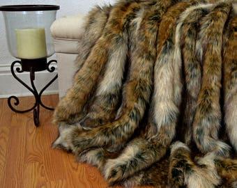 Brown Wolf Faux Fur Blanket Throw, Faux Fur Blanket,  Faux Fox Fur Throw, Fur Bedding, Lap Blanket