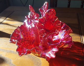 Cranberry carnival diamond lace, epergne,Fenton glass