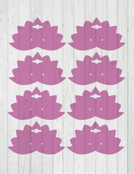 Lotus Earring Card Template Dxf Svg Png Ai Files Etsy
