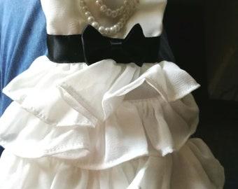 MSD 1/4 BJD Doll Dress, white dress with beads