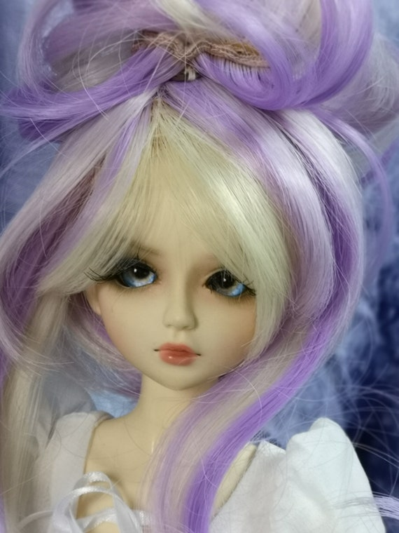 96cdaf9c48826 1/4 BJD Doll Hair Wig Purple + Gold Head Circ 7-8 18-20cm HC-4DW129HT