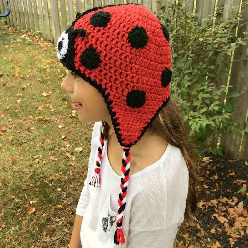 Crochet Ladybug Hat Black and Red Hat Crochet Animal Hat  2d976a29e088