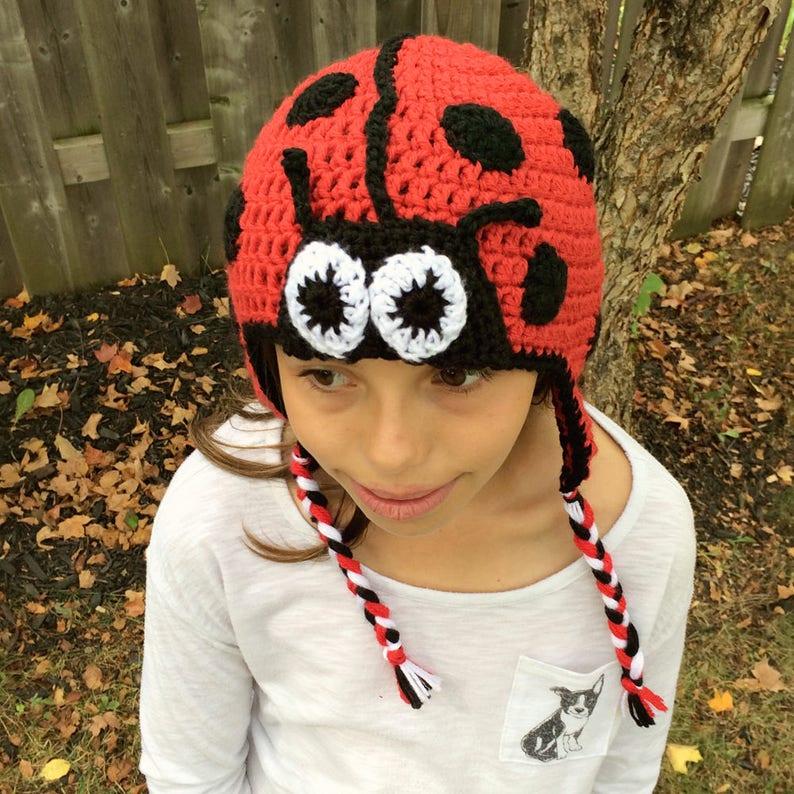 Crochet Ladybug Hat  Black and Red Hat  Crochet Animal Hat  image 0