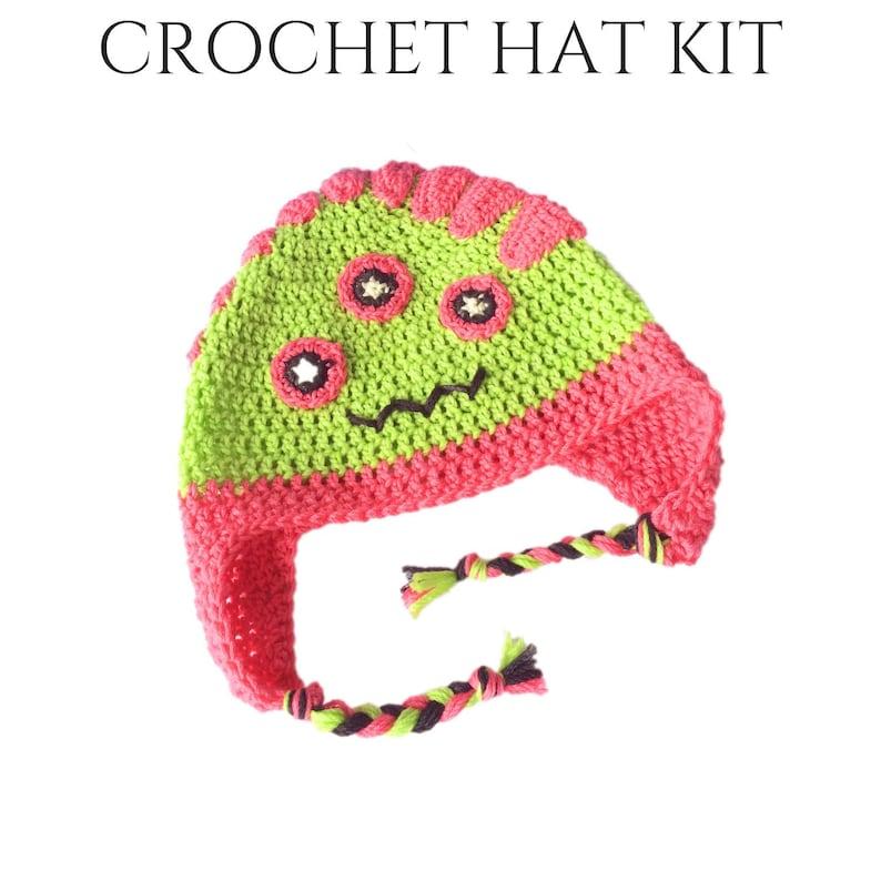 Hazel Diy Kids Crochet Monster Hat Diy Crochet Kit Diy Etsy
