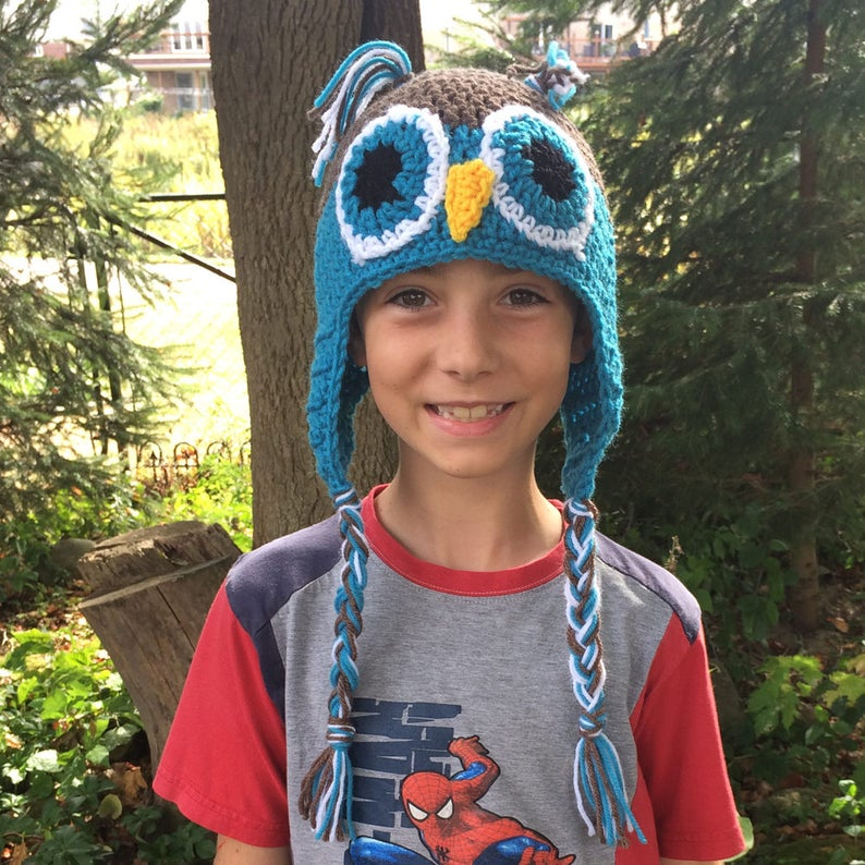 Blue Owl Hat  Gift Ideas for Kids  Winter Hats With Ear image 0