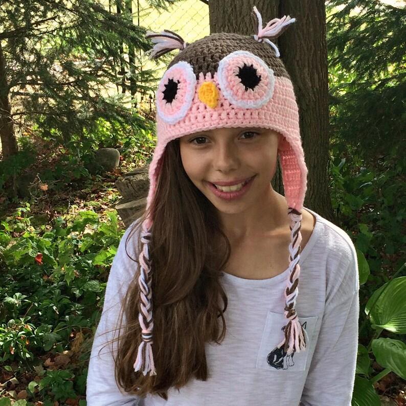 Pink Owl Hat  Crochet Owl Hat  Crochet Animal Hat  Kids image 0