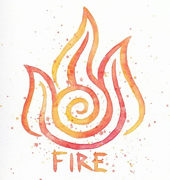Fire Nation Symbol 10x10 Watercolor Painting Print Zuko Etsy