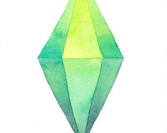 Sims Plumbob Sim Marker // Watercolor Print Of Original Painting // Geekery Fan Art Sims 4
