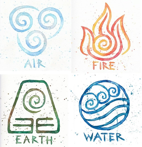 Water Earth Air Fire Avatar Symbols 10x10 Prints Four Etsy