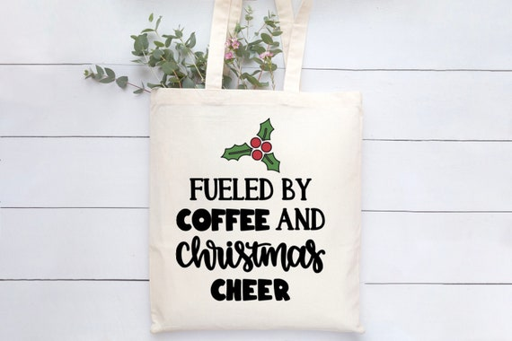 Fueled by coffee and christmas large canvas tote bag christmas gifts christmas gift tote bag shoulder bag