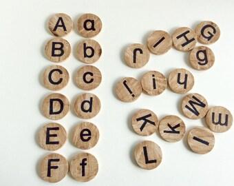 Wooden Alphabet Discs - Montessori learning, both uppercase and lowercase alphabet, homeschooling, Reggio Emilia, wood educational toy