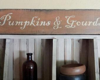 Primitive Fall Pumpkins & Gourds Sign