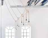 Rope pendant light with wall plug. Edison filament bulb, table lamp lighting, living room or bedroom light, lamp with dimmer, rope lighting.