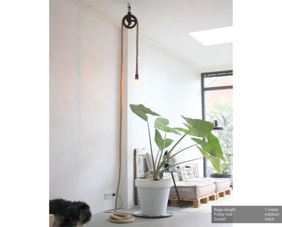 Industrial Wall Light Plug In Pendant Adjustable Floor Lamp Pulley Rope Swag Lighting Farmhouse Hanging Bedside Lamp Living Room Bedroom