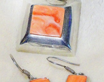 Vintage Sterling Silver Rhodochrosite Pendant Earring Set
