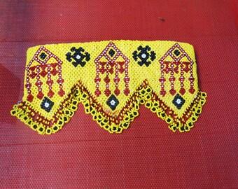 Beaded Dog Collar, Vintage Afghani Beadwork, Martingale Style, Adjustable