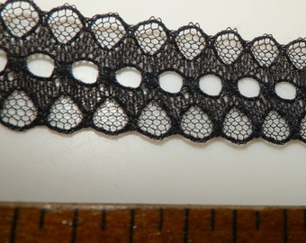 3 Yards Vintage Black Embroidered Net Lace w/Ribbon Channel NEW