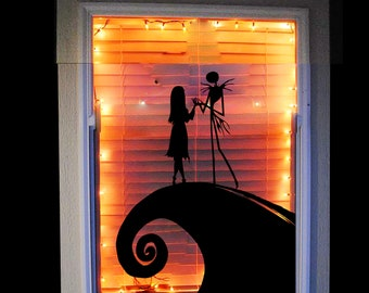 jack and sally nightmare before christmas window decal halloween decoration disney window decal