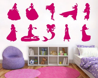 Disney Princess Wall Decal Silhouettes - Girls Room, Nursery Decal and Decor