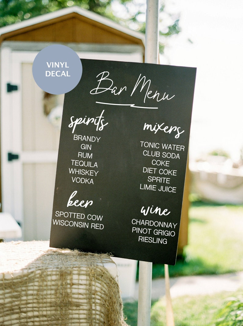 Wedding Bar Menu Drink List Decal Sign, Custom Vinyl Decal Wedding Bar Menu  Wine, Beer, Mixers and Spirits