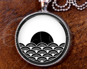 Harmony Black n White-#8/Japanese Pattern/Pendant/Silver Plate/Bold Necklace, 24 inch length