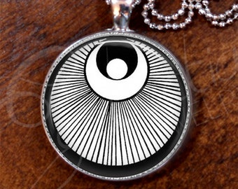 Harmony Black n White #10/Japanese Pattern/Pendant/Silver Plate/Bold Necklace, 24 inch length